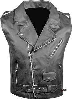 Men's Classic Leather Motorcycle Biker Concealed Carry Vintage Vest Black L