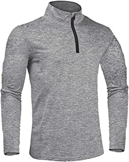 HOPATISEN 1/4 Zip Long Sleeve Base Layer Pullover Running Active Shirts for Men Sports Top for Warmup Training Workout Gol...