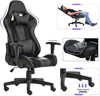 BestOffice PC Gaming Chair Ergonomic Office Chair Desk Chair with Lumbar Support Headrest Arms Swivel Rolling High Back PU Leather Racing Computer Chair for Adults,Black
