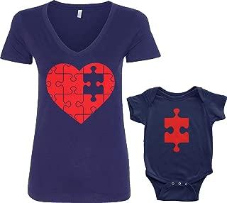 Threadrock Heart & Missing Piece Infant Bodysuit & Women's V-Neck T-Shirt Set