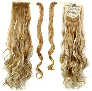 Frcolor Envuelva alrededor de Ponytail One Piece Clip en cabello rizado Extensiones de cabello Tial 24inch para la mujer S...