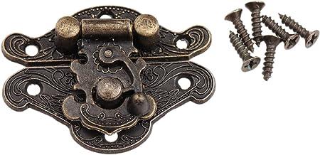 1PC Antiek Brons Klink Spoeltje Furniture Hardware Decorative Klink Houten Jewelry Box Spoeltje Pad Borst Lock (Color : 38...