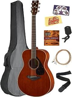 Yamaha FS850 Solid Top Small Body Acoustic Guitar - Natural Mahogany Bundle with Gig Bag, Tuner, Strings, Strap, Picks, Austin Bazaar Instructional DVD, and Polishing Cloth