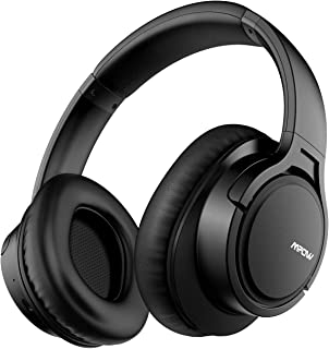 Mpow H7 Bluetooth Headphones Over-Ear, 18h Playtime, CVC 6.0, Wireless Headphones with Hi-Fi Stereo and Mic, Comfortable Memory-Protein, Wireless and Wired Mode for Cellphone/Tablet-Black