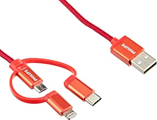 PHILIPS DLC4540VR/11 3 in 1 Braided Cable USB A to Micro/Lightning/Type C, Red, 1.2m