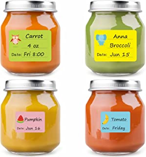 Baby Food Labels, Removable Write-On Date Labels for Baby Bottle, Food Storage Container, Freezer Tray & Reusable Pouch, G...