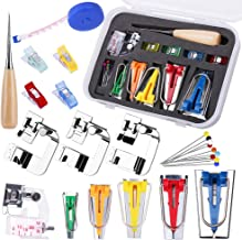 Bias Tape Tool Kit with Instruction, 5 Sizes Bias Tape Maker (6mm 9mm 12mm 18mm 25mm) with 4 Pcs Sewing Machine Presser Foot, Sewing Clips, Ball Point Pins, Awl, for Fabric Sewing and Quilting