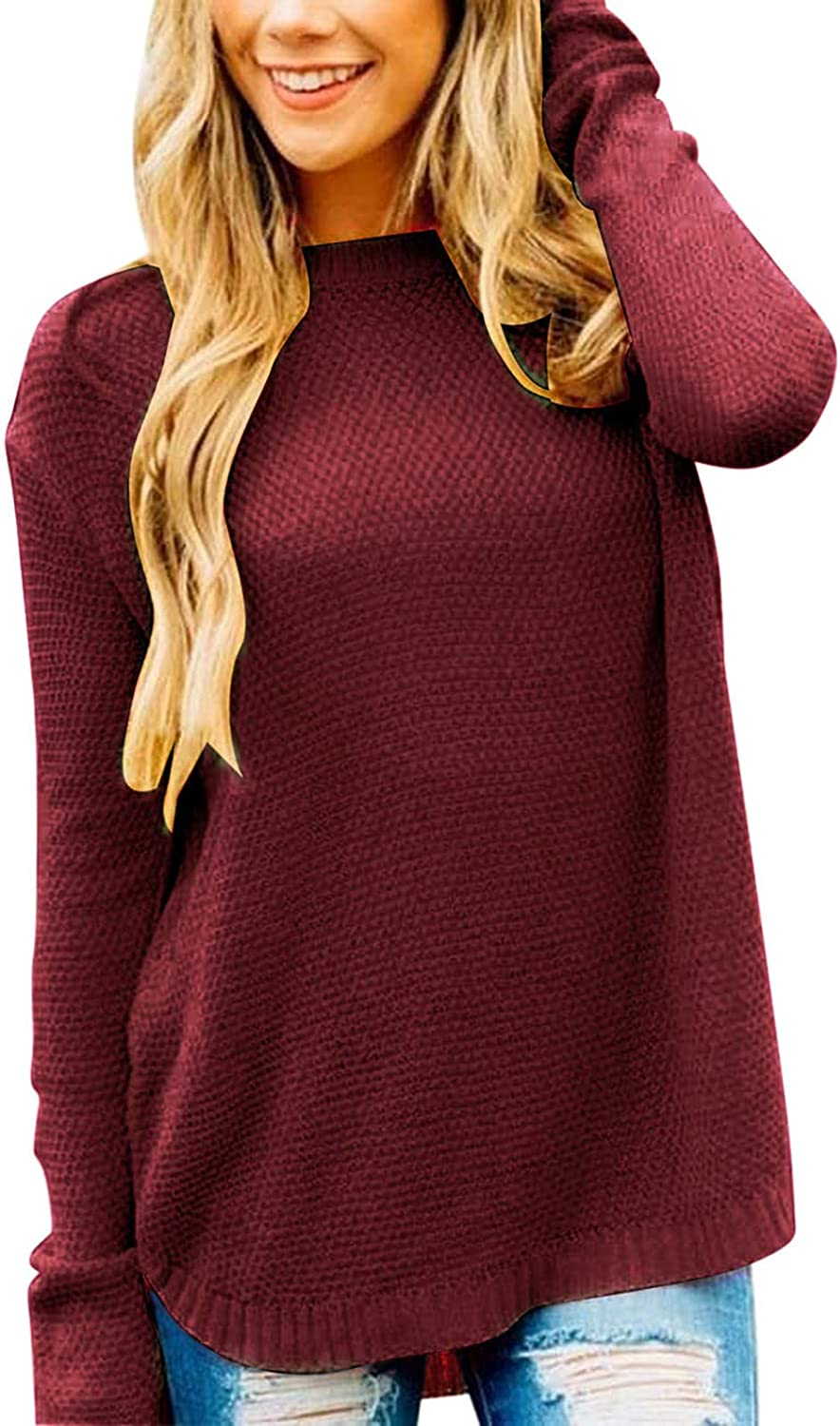 She Womens Long Sleeve Oversized Sweaters Crew Neck Solid Knit Pullover Jumpers Tops