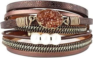Multi-Layer Leather Bracelet -Wrap Bracelet Boho Braided Cuff Bangle Crystal Bead Bracelet Rhinestone Handmade Magnetic Clasp Bracelet for Women Mother's day Gift