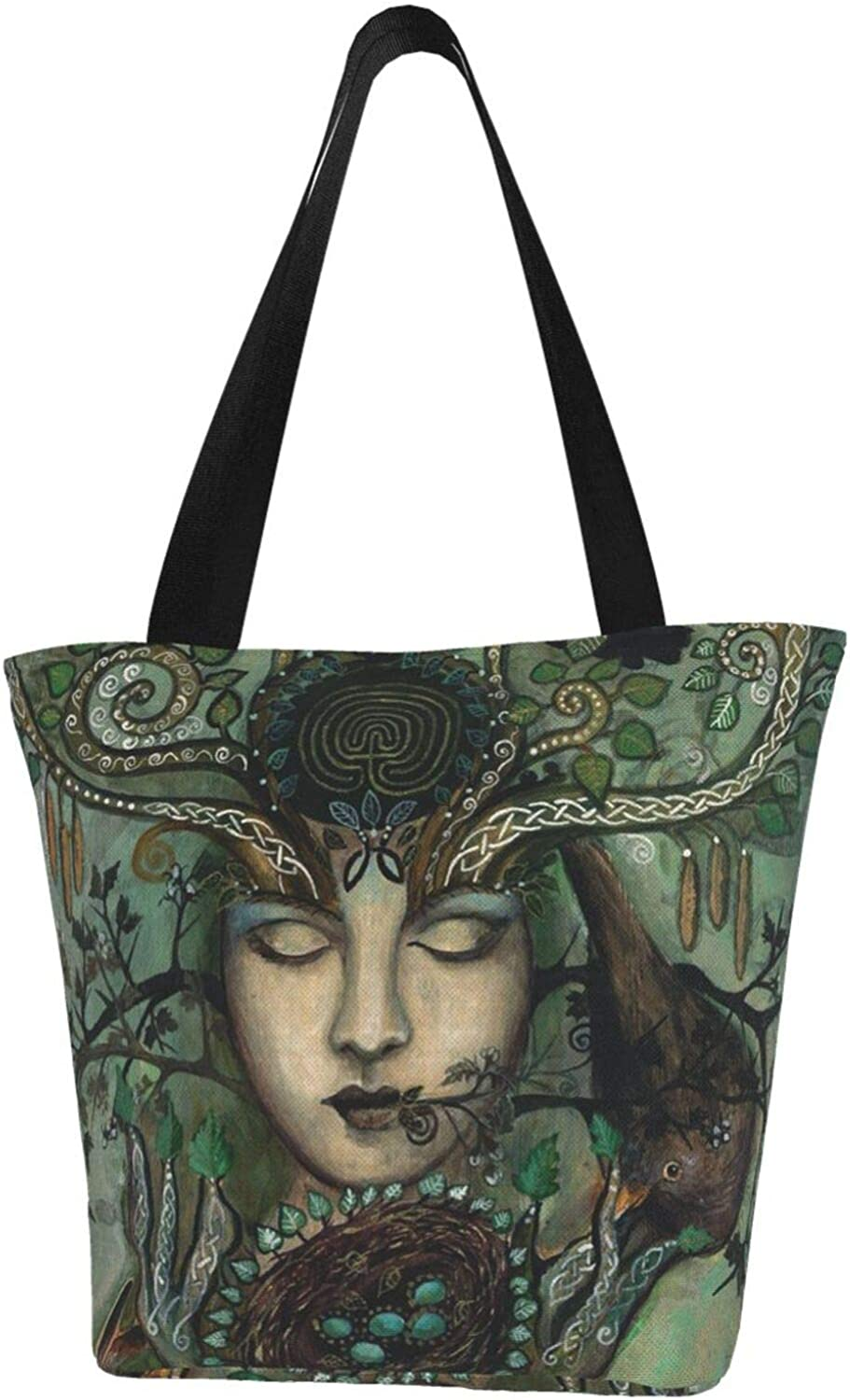 Goddess Wicca Wiccan Rabbit Crow Themed Printed Women Canvas Handbag Zipper Shoulder Bag Work Booksbag Tote Purse Leisure Hobo Bag For Shopping