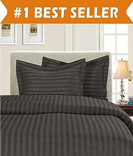 Elegant Comfort 1500 Thread Count Egyptian Quality Silky Soft Luxury 3-Piece Stripe Duvet Cover Set, King/California King, Grey