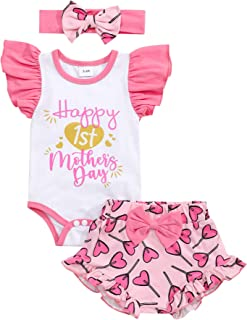 Happy 1ST Mother's Day Outfit Baby Girl Ruffle Sleeve Romper Shorts with Headband Clothes