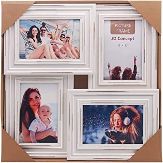 JD Concept 4 4x6 Collage Picture Frame, Display 2 Vertical and 2 Horizontal Opening Family Multi Photos, for Wall Hanging (Painted White, Vintage Cut Stripes)