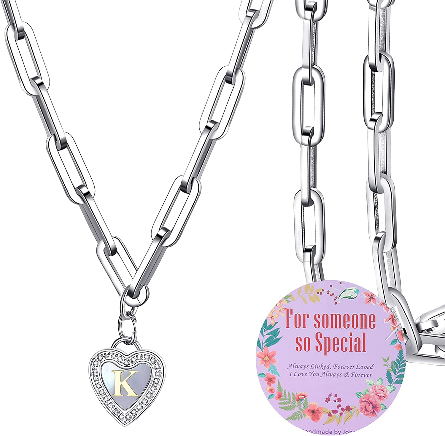 johoo Initial Heart Paperclip Chain - Necklace Excellence Pe Capital Letter Quality inspection
