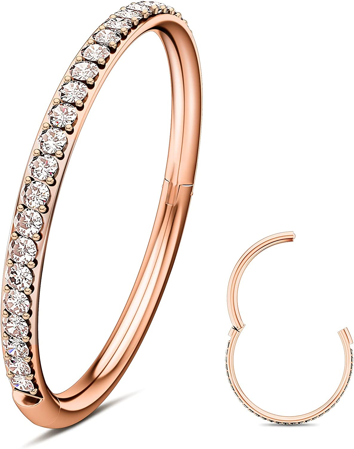 Wssxc 316L Surgical Steel Hinged Nose Rings Hoop with Zircon 16G Body Pierecing Ring Segment Clicker Lip Rings Cartilage Rook Diameter 6mm 8mm 10mm