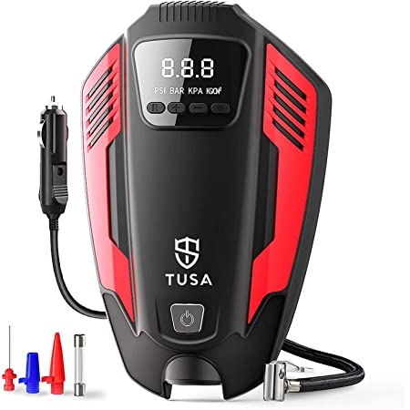 TUSA Tyre Inflator, Portable DC 12V Air Pump for Car Tyre, Bicycles and Other Inflatables, Portable Air Compressor with LED Light & 11.5 Feet Long Power Cord (Red)