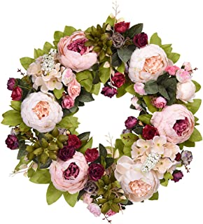 Sunm boutique Artificial Peony Flower Wreath, 15.7