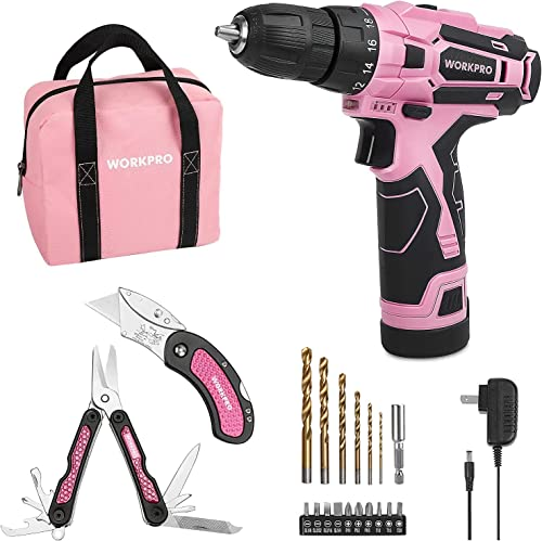popular WORKPRO lowest Pink Cordless Drill Driver Set and Pink Utility Knife online & Multi Tool Set outlet sale