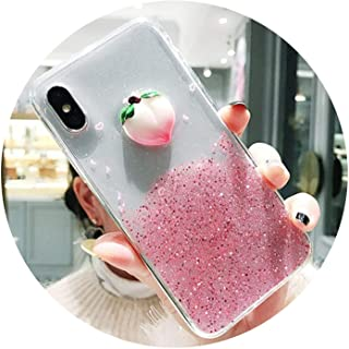 Lovely Bling 3D Fruit Quicksand Glitter Peach Strawberry Phone Case for iPhone X 6 6S 7 8 Plus Shining Soft TPU Clear Back Cover,Style 2,for iPhone 7