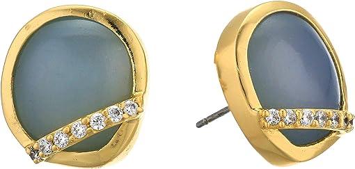 12K Soft Polish Gold/Crystal/Blue Agate