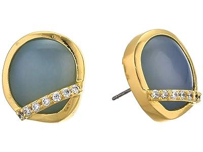 SOLE / SOCIETY Stud Earrings (12K Soft Polish Gold/Crystal/Blue Agate) Earring