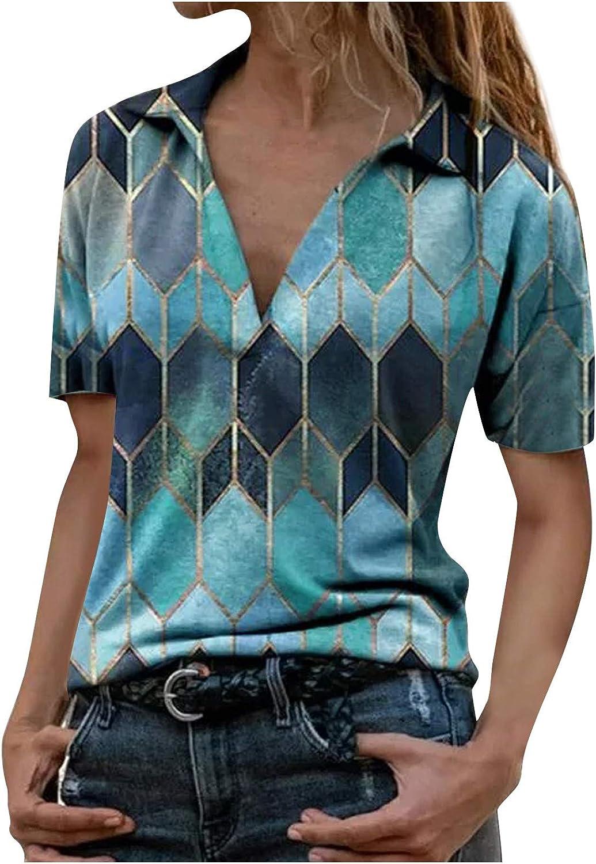 AODONG T-Shirts for Women Casual Deep V-Neck Tees Summer Short Sleeves Blouse Printed Pullover Tee Shirts