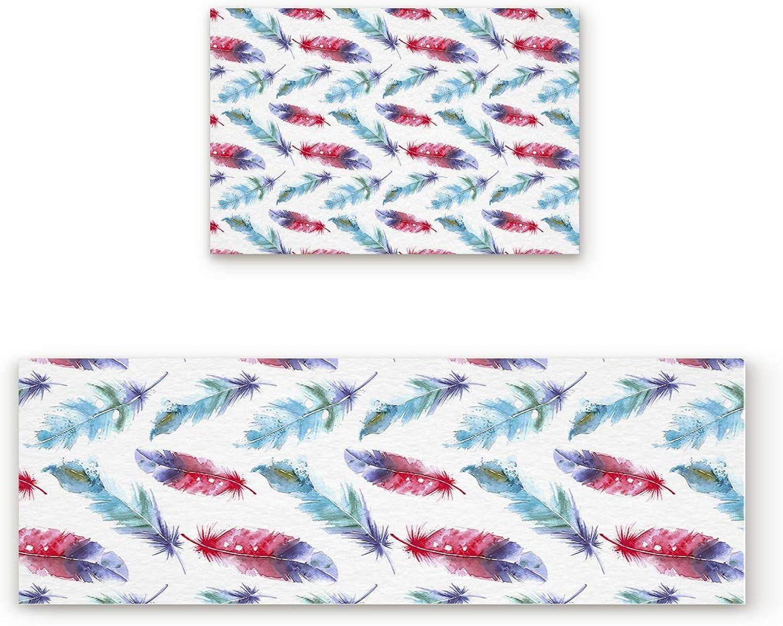 Libaoge Non-Skid Slip Rubber Backing Kitchen Mat Runner Area Rug Doormat Set, Dazzling colorful Refrsh Feather Carpet Indoor Floor Mats Door 2 Packs, 19.7 x31.5 +19.7 x47.2
