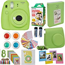 Fujifilm Instax Mini 9 Instant Camera Lime Green + Fuji Instax Film Twin Pack (20PK) + Camera Case + Frames + Photo Album + 4 Color Filters and More Top Accessories Bundle