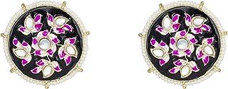 Jewelsiya Black Meenakari Stud And White Kundan Indian Jewellery Earring For womens And Girls