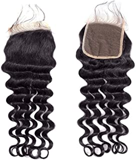 BLY Brazilian Virgin Loose Deep Wave Human Hair 4x4inch Lace Closure 20 Inch Unprocessed Remy Mink Loose Curly Hair Natural Color