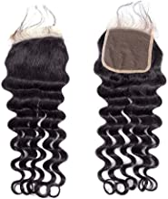 BLY Brazilian Virgin Loose Deep Wave Human Hair 4x4inch Lace Closure 12 Inch Unprocessed Remy Mink Loose Curly Hair Natural Color