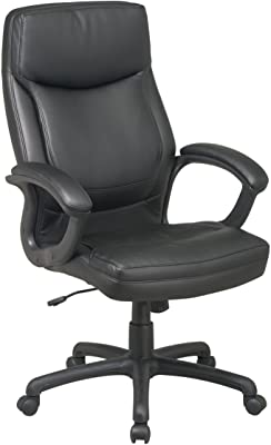 Office Star High Back Thick Padded Contour Seat and Back Eco Leather Executive Chair with Locking Tilt Control with Matching Stitching, Black