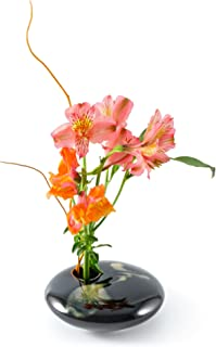 Georgetown Pottery Small Round Ikebana Flower Vase, Black Wave