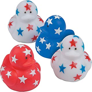 Fun Express - Patriotic Mini Ducks for Fourth of July - Toys - Character Toys - Rubber Duckies - Fourth of July - 24 Pieces