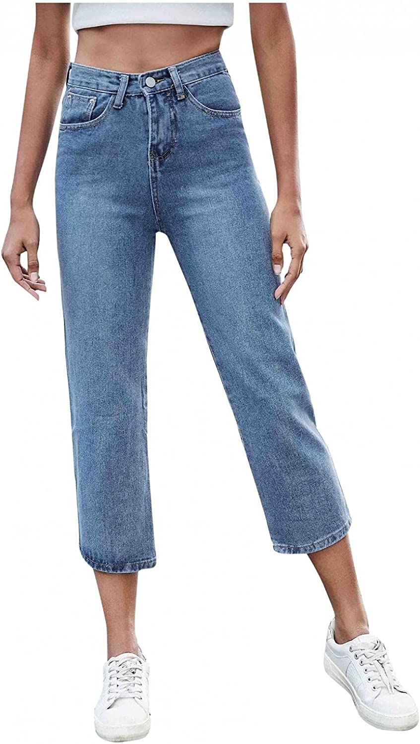 MASZONE Straight Jeans for Women, Womens Y2K Fashion High Waist Casual Jeans Ankle Stretch Slim Fit Cropped Denim Pants