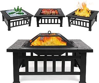 femor Feuerschale mit Funkenschutz, 81x81x45cm, Garten Feuerkorb für Heizung/BBQ, Feuerstelle mit Grillrost & wasserfester Schutzhülle, für Camping Picknick Garten