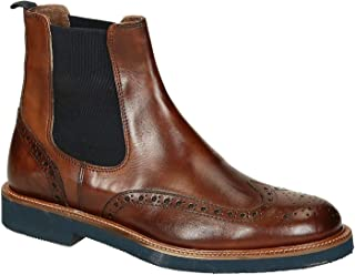 Leonardo Shoes Stivaletti Chelsea Wingtip Brogue in Vitello Marrone
