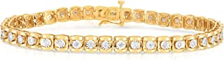 Sterling Silver 0.50 Carat Diamond Tennis Bracelets, Miracle plating, Natural Diamond ( G-H, I1-I2),Yellow Gold Plated Sil...