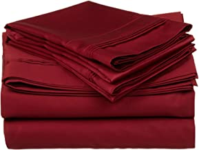 100% Egyptian Cotton 650 Thread Count, King 4-Piece Sheet Set, Deep Pocket, Single Ply, Solid, Burgundy