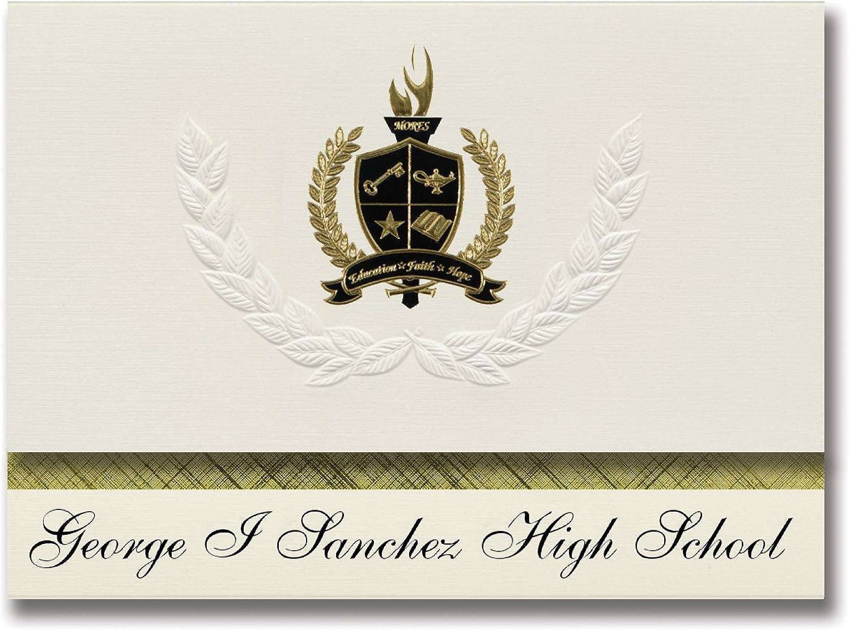 Signature Ankündigungen George I Sanchez High School (Houston, TX) Graduation Ankündigungen, Presidential Stil, Elite Paket 25 Stück mit Gold & Schwarz Metallic Folie Dichtung B078VD13MG   | Up-to-date Styling