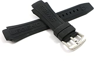 Swiss Legend 28MM Black Silicone Watch Strap & Silver Stainless Buckle fits 46mm Super Shield Watch
