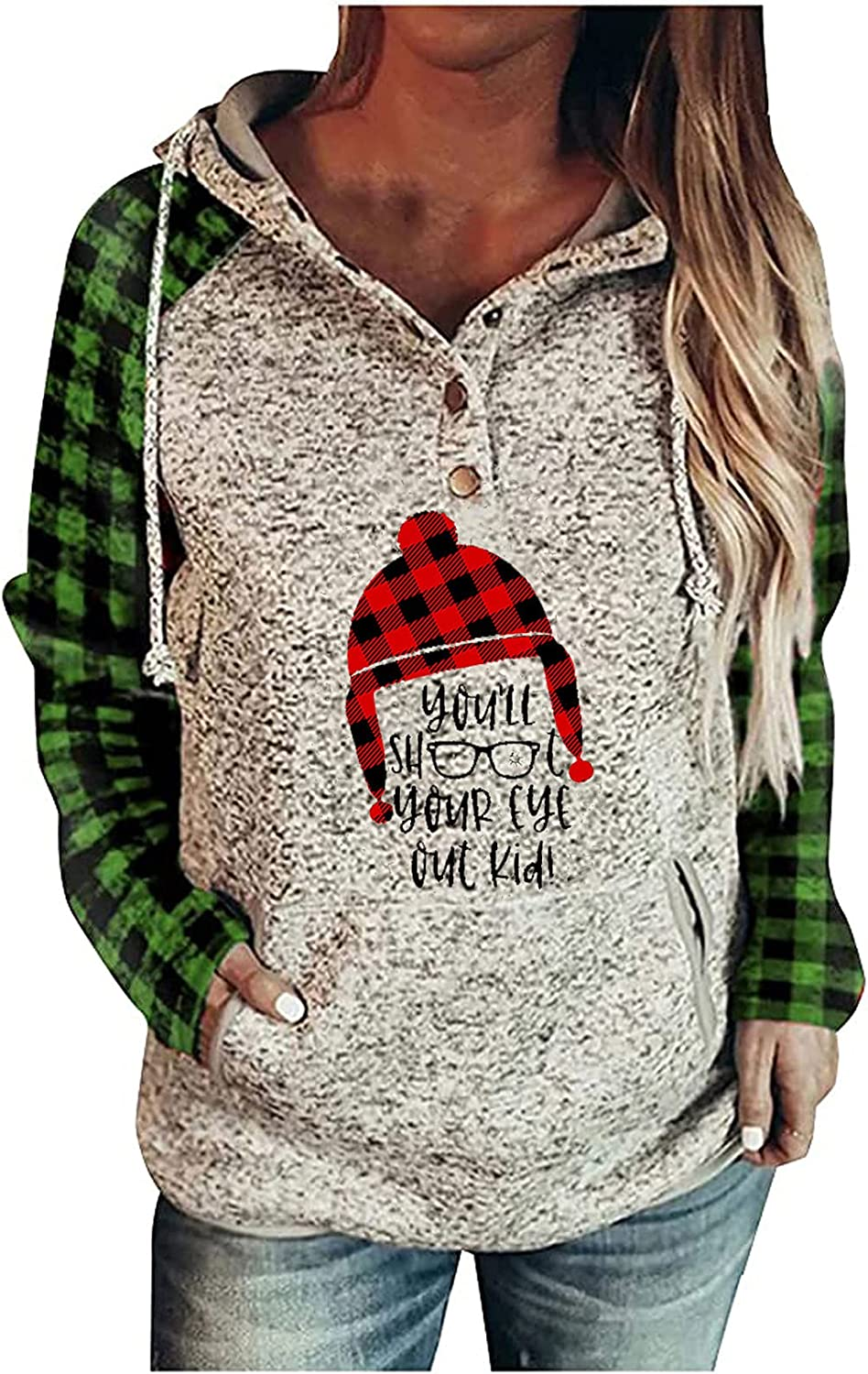 Christmas Sweaters for Women - Plaid Christmas Hat Print Hoodie Long Sleeve Comfortable Pullover Buttons Sweatshirt Green