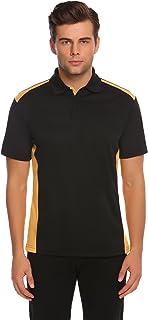Ekouaer Men Collar Short Sleeve Patchwork Polo Shirt