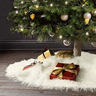 Ivenf Christmas Tree Skirt, 48 inches Large Snow White Thick Plush Faux Fur Skirt, Rustic Xmas Tree Holiday Decorations