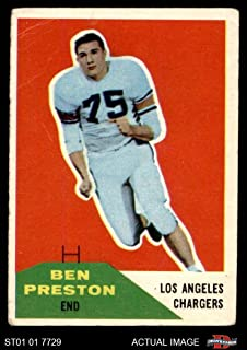 1960 Fleer # 8 Ben Preston Los Angeles Chargers (Football Card) Dean's Cards 2 - GOOD Chargers