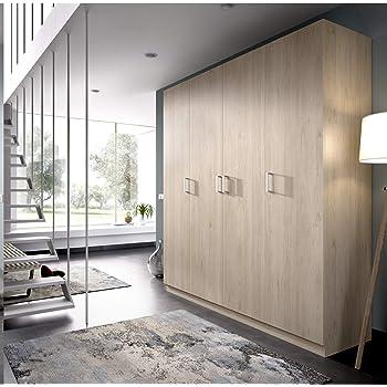 HABITMOBEL Armario ropero de Cuatro Puertas, Oficina o almacenaje Natural, Medidas 200 cm (Largo) x 215 cm (Alto) x 52 cm (Fondo): Amazon.es: Hogar