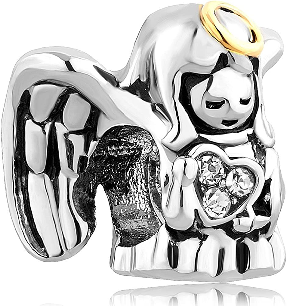 Charmed Craft Guardian Angel Charms Prayer Charm Beads for Snake Chain Bracelets