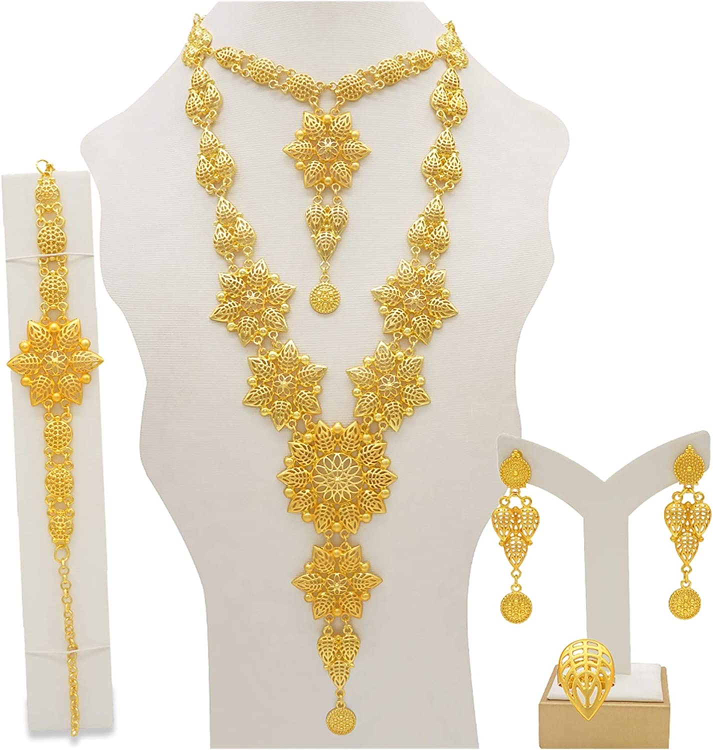 ZCPCS Dubai Jewelry Sets Gold Necklace & Earring Set for Women African France Wedding Party 24K Jewelery Ethiopia Bridal Gifts (Metal Color : BJ832 2)