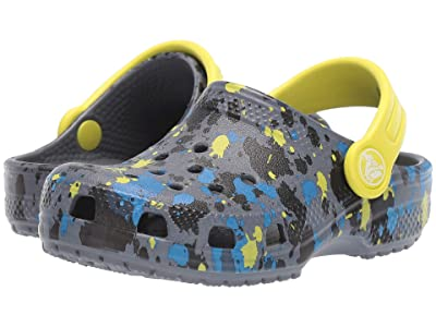 Crocs Kids Classic Printed Clog (Toddler/Little Kid/Big Kid) (Charcoal/Citrus) Kid