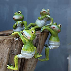 Baguo 4 PCS Creative Climbing Frogs Bonsai Decorative Hanging Frogs Potted Ornaments Outdoor Garden Flowerpot Decor Home Desk Garden Decor Ornaments